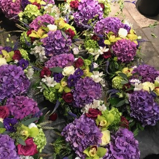 Purple Event Arrangements  ready to go for event delivery